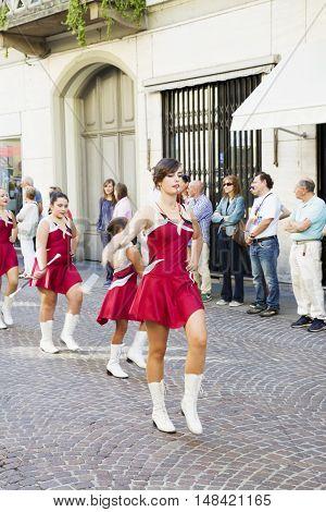 CASALE MONFERRATO ITALY - SEPTEMBER18 2016: Majorettes in parade in Casale Monferrato Italy for the