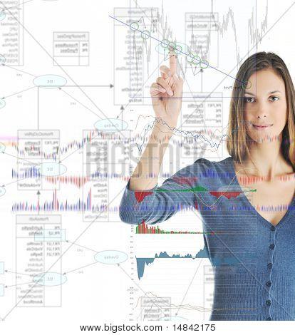 Junge geschäftsfrau, isolated on white Background berühren Bildschirm mit Statistik-Diagramm und