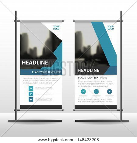 Blue Abstract Business Roll Up Banner flat design template ,Abstract Geometric banner template Vector illustration set, abstract presentation template