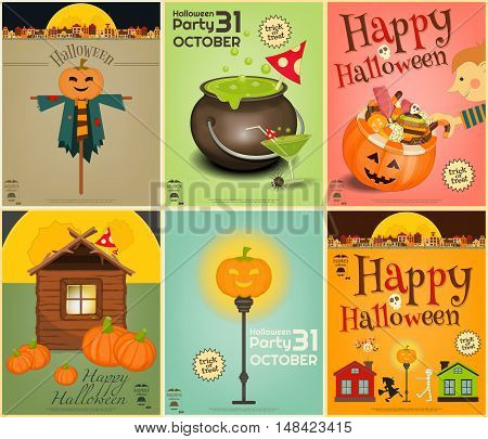 Halloween Posters Set. Symbols and Signs of October Halloween. Sweet Treats and Jack-o-lantern. Vector Illustration.