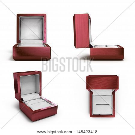 Collection Of Wooden Lacquered Gift Box For Rings 3D Render Insolated On White