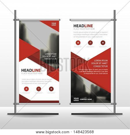 Red Abstract triangle Business Roll Up Banner flat design template ,Abstract Geometric banner template Vector illustration set, abstract presentation template