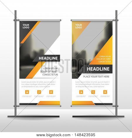 Yellow Abstract triangle Business Roll Up Banner flat design template ,Abstract Geometric banner template Vector illustration set, abstract presentation template