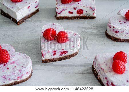 Raw Vegan Raspberry Coconut Cheesecake Bites, Selective Focus/ Healthy Eating Concept