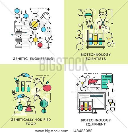 Biotechnology linear compositions including scientists and genetic engineering modified food and professional equipment isolated vector illustration