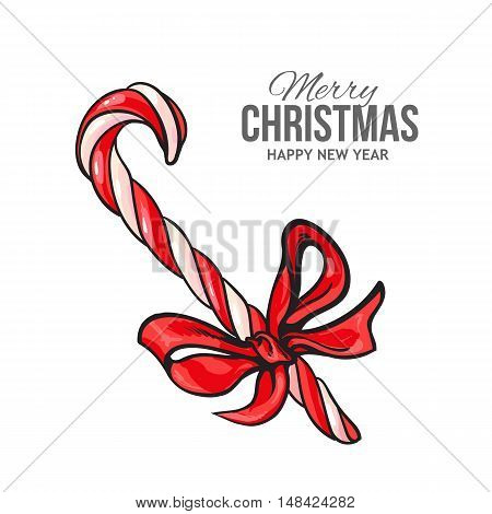 Christmas candy cane with red bow, vector greeting card. Traditional striped red and white Xmas candy cane with a red ribbon, decoration element, Christmas greeting card template