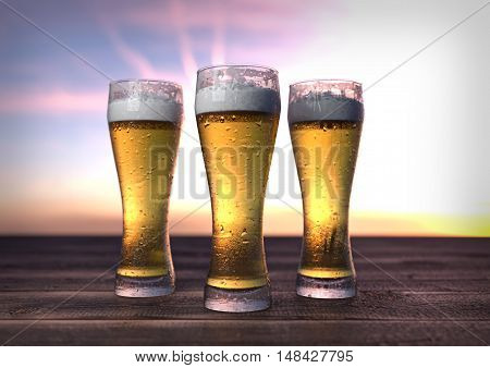 three glasses of beer on wooden desk - 3D render