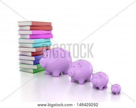 Books with Piggy Bank - 3D Rendering Image