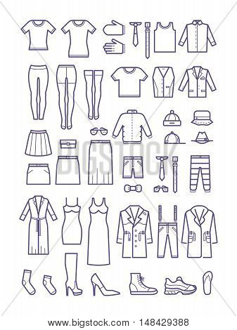 Female and male casual clothes, garment outline vector icons. Fashion shirt and dress, coat and jacket illustration