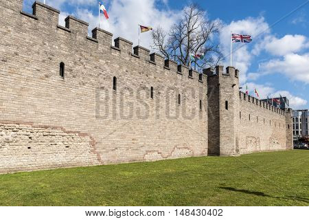 Walls of Cardiff Castle - Wales, Great Britain