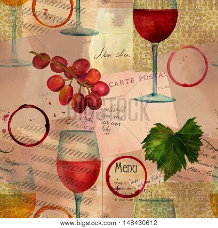 A seamless background pattern with watercolor drawings of red, white and pink wine glasses, grapes, vine, stem rings on old ephemera: vintage sheet music, letters etc