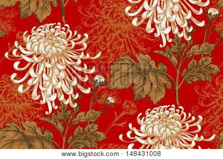 Vector seamless floral pattern. Japanese national flower chrysanthemum. Illustration luxury design textiles paper wallpaper curtains blinds. Golden leaves white flowers on red background.