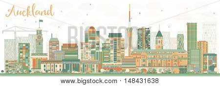 Abstract Auckland Skyline with Color Buildings. Vector Illustration. Business Travel and Tourism Concept with Modern Buildings. Image for Presentation Banner Placard and Web Site.