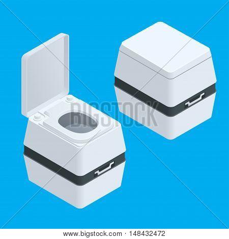 Isometric Small bio toilet isolated on white illustration