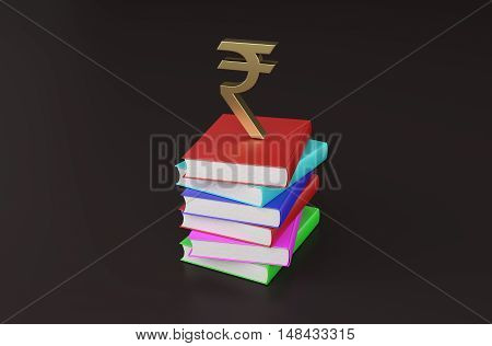 Book with Rupee Symbol - 3D Rendering Image