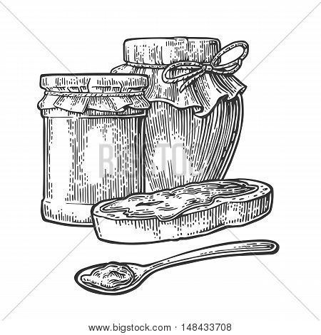 Jar with packaging paper spoon and slice of bread with jam. Isolated on white background. Vector black vintage engraving illustration for menu