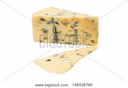 British blue cheese (Stilton) isolated on a white studio background.