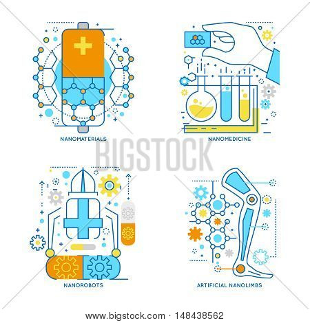 Nanotechnology colored linear compositions including innovative materials and medical treatment robots and artificial limbs isolated vector illustration