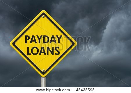 Payday Loans yellow warning highway road sign Yellow warning highway sign with words Payday Loans with stormy sky background 3D Illustration