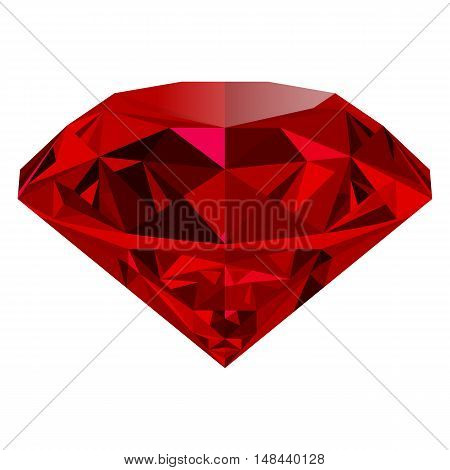 Realistic red ruby isolated on white background. Shining red jewel colorful gemstone. Can be used as part of logo icon web decor or other design.