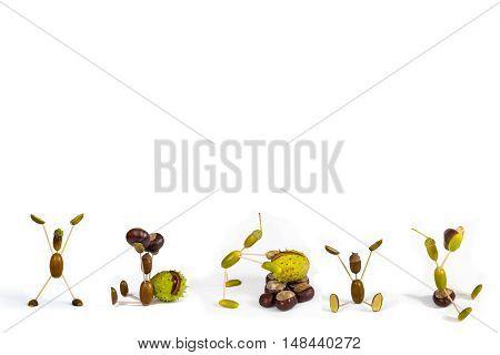 Acorn fellows on white background. Autumn raster illustration.