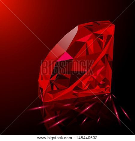 Realistic shining red ruby jewel with reflection red glow and light sparks on gradient background. Can be used as part of logo icon background web decor or other design.