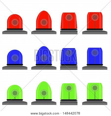 Set of Colorful Siren Isolated on White Background. Red, Blue, Green Lights. Police and Emergency Flashes. Rotating Beacon Flasher Icons