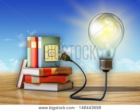 Light bulb and some books. 3D illustration.