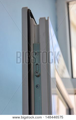 steel mechanism of white plastic window sash of plastic profile