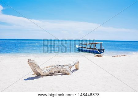 Relax White Sand Beach, Blue Sea And Boat