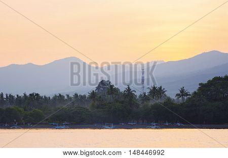 Lovina Beach Landscape View From Sea At Dawn, Bali