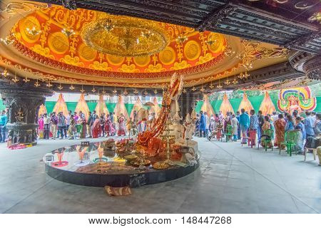 KOLKATA INDIA - OCTOBER 21 2015 : Beautiful interior of decorated Durga Puja pandal at Kolkata West Bengal India. Durga Puja is biggest religious festival of Hinduism.