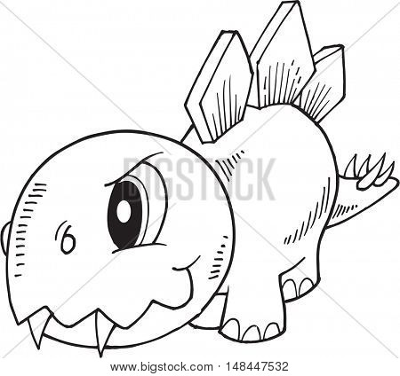 Tough Stegosaurus Dinosaur Vector Illustration Art