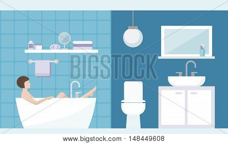 Young woman having a relaxing bath in the bathroom at home room interior