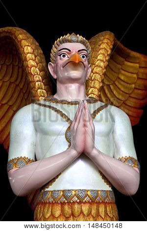 PATHUM THANI, THAILAND - DECEMBER 31, 2012: Garuda statue at Dhammakaya Meditation Center in Pathum Thani, Thailand.