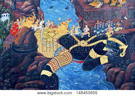 Painted Fresco On A Temple Wall At Wat Phra Kaew Temple In Bangkok, Thailand