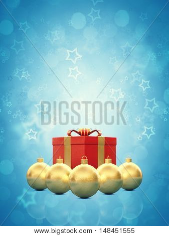 Golden christmas baubles and red gift box on blue background copy space , Christmas card , 3d illustration