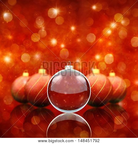 Christmas decoration baubles on red sparkly background , 3d illustration