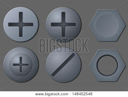 Set of six different bolt and nut heads vector illustration