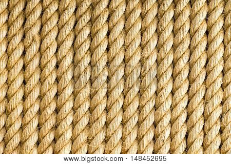 Vertical strands of thick yellow rope as background with copy space for texture themes