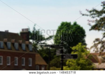 Beaconsfield, England - June 2016: Tourist Information Sign In The Old Town Out Of Focus.