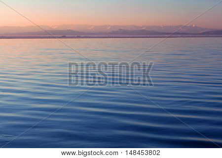 Lake Manasarovar in Western Tibet. According to the Hindu religion the lake was first created in the mind of the Lord Brahma after which it manifested on Earth
