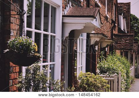 Beaconsfield, England - June 2016: Row Of Terraced Houses In The Old Town Of Beaconsfield Vintage Re