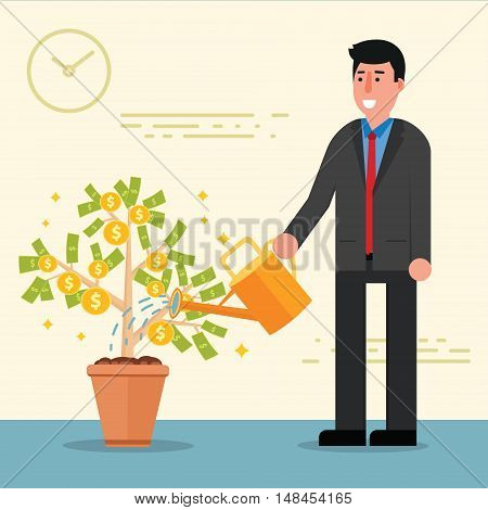 Successful young businessman or broker watering money tree. Cartoon vector illustration of manager or boss as concept of financial growth and investment. Male entrepreneur