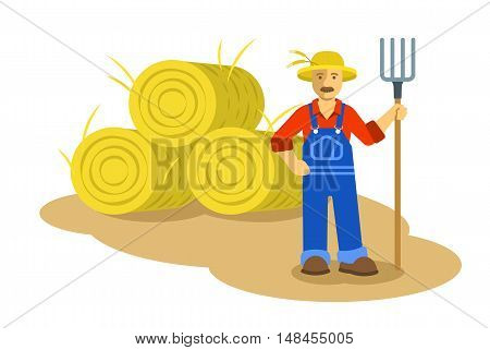 Farmer man standing with pitchfork near group of hay bales. Vector flat illustration. Farming cartoon character. Organic agriculture concept. Smallholder harvesting in work uniform