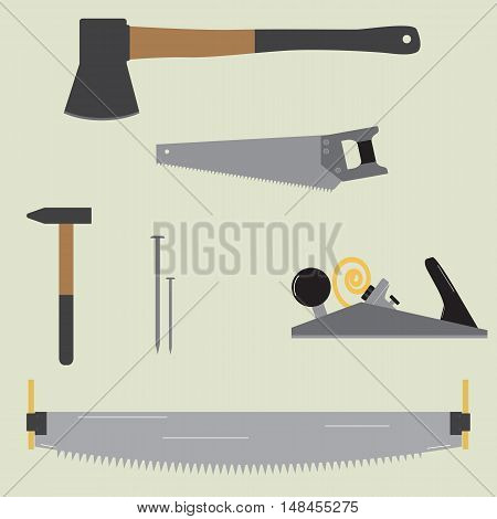 Flat Vector Carpentry Tools Isolated On A Light Background