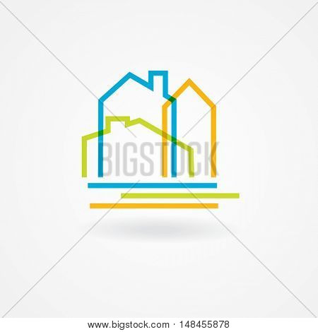 Real estate Logo, home logotype. Three houses logo. Property symbol