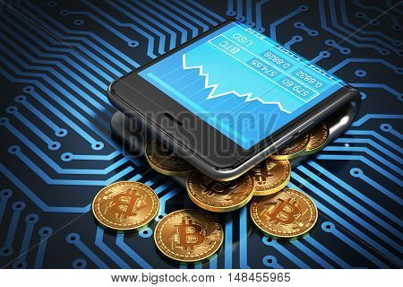 Concept Of Digital Wallet And Bitcoins On Printed Circuit Board. Bitcoins Spill Out Of The Curved Smartphone. 3D Illustration.