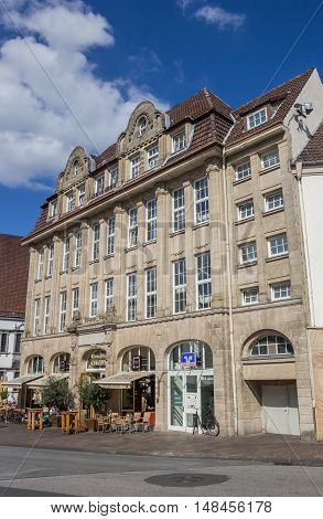 PADERBORN, GERMANY - SEPTEMBER 6, 2016: Cafe in an old building in the center of Paderborn, Germany