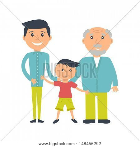 Illustration of three ages of men from child to senior. Three mans - father, son and grandfather isolated on white